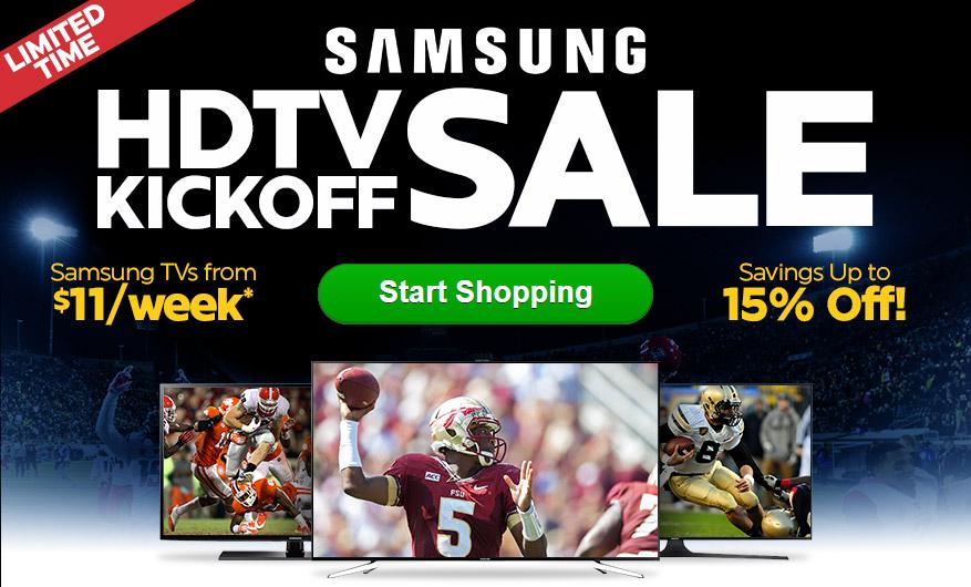 Samsung HDTV Kickoff Sale - Samsung TVs from $14/week* + HUGE SAVINGS!